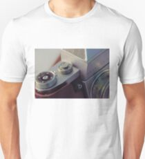 Abstract view of  Praktica Vintage 35mm camera, showing the lens, ISO, fstops and body T-Shirt