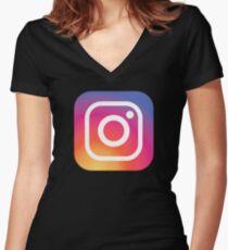 New Instagram LOGO Women's Fitted V-Neck T-Shirt