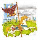 Jantzen Beach Carousel Eagle Horse by dkatiepowellart