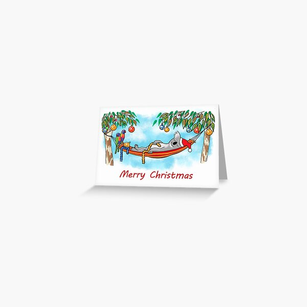 Koala Relaxing Hammock - Merry Christmas Greeting Card