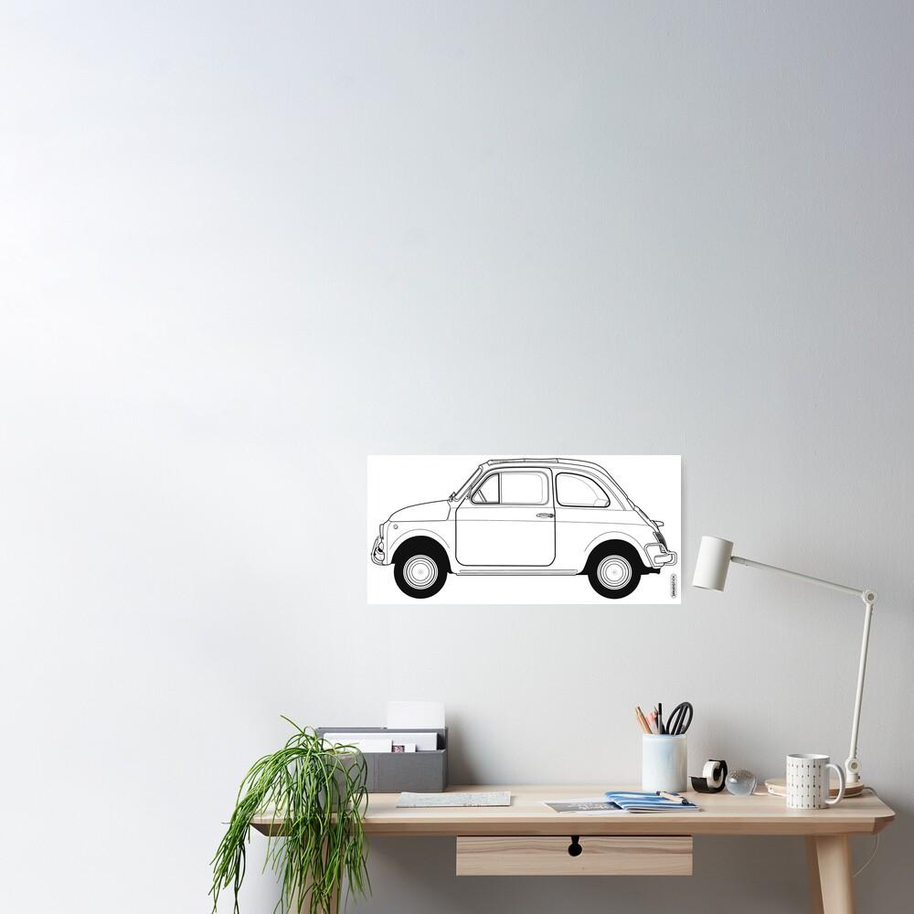 Fiat 500 Vintage Car Poster