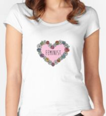 Feminist Flower Heart Women's Fitted Scoop T-Shirt