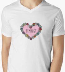 Feminist Flower Heart Men's V-Neck T-Shirt