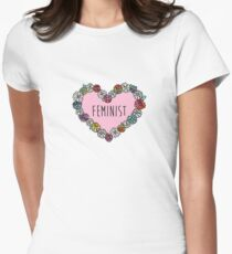 Feminist Flower Heart Women's Fitted T-Shirt