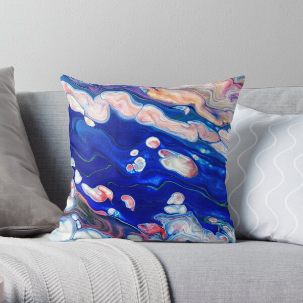 Blue liquid marble pattern  Throw Pillow