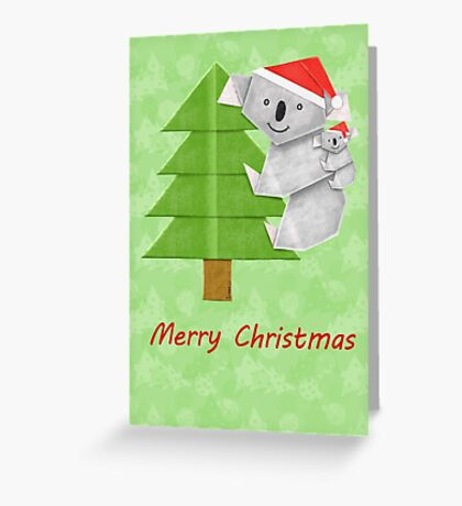 Origami Koala and Baby on Christmas Tree Greeting Card