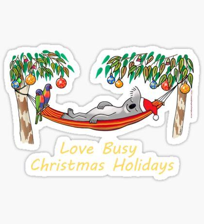 Koala Relaxing on its Hammock – Love Busy Christmas Holidays!  Sticker