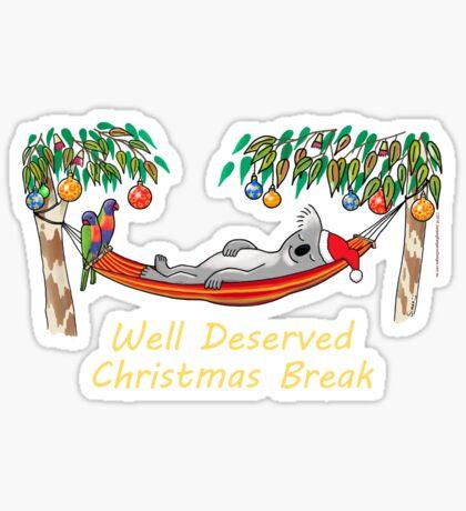 Koala Relaxing on its Hammock on a Well Deserved Christmas Break Sticker