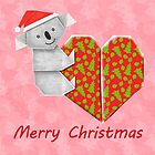 Koala Origami and its Heart gift wrapped for Christmas  by JumpingKangaroo