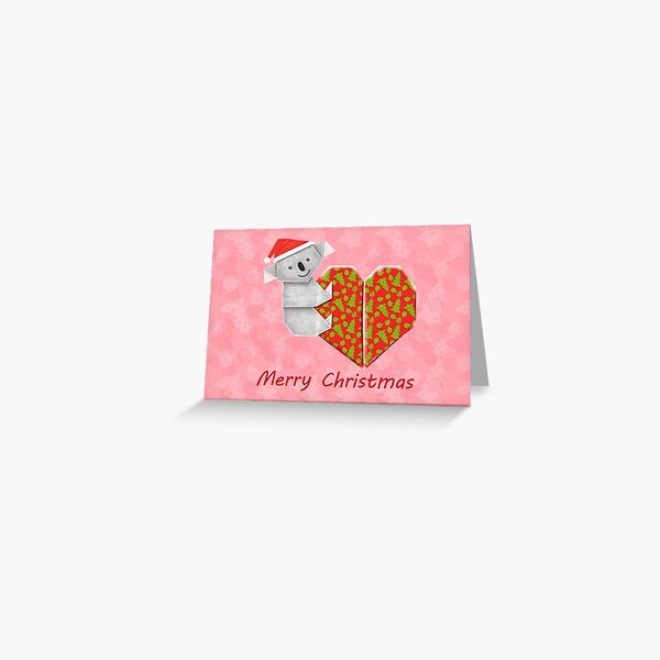 Koala Origami and its Heart gift wrapped for Christmas  Greeting Card