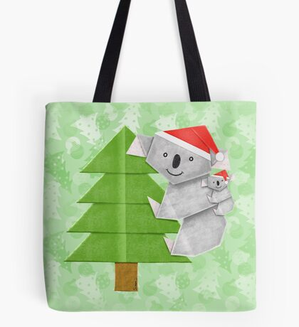 Origami Koala and Baby on Christmas Tree Tote Bag