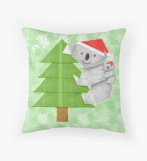 Origami Koala and Baby on Christmas Tree Throw Pillow