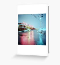 Rainy Motel Lights  Greeting Card