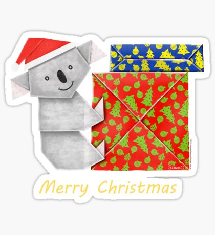Koala Origami and its mystery Christmas Gift boxes Sticker