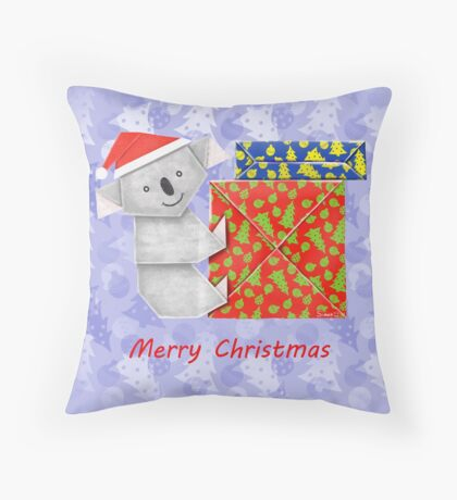 Koala Origami and its mystery Christmas Gift boxes Throw Pillow