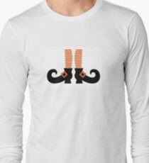 Orange striped witch legs. Vector cartoon Illustration T-Shirt