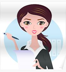 Office writing woman with paper note Poster