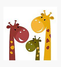 Happy cartoon Giraffes. Vector Illustration Photographic Print
