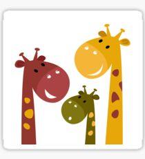 Happy cartoon Giraffes. Vector Illustration Sticker