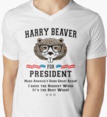 Harry Beaver For President Mens V Neck T Shirt