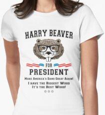 Harry Beaver For President Womens Fitted T Shirt