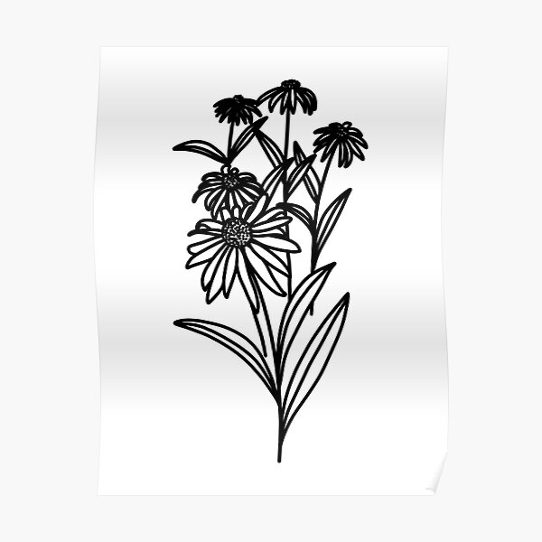 Wildflowers Line Drawing Poster