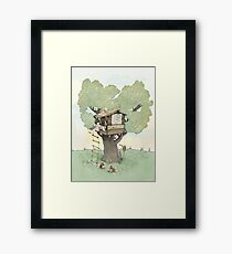 ree house, Art Poster Print Childrens Wall Art Print - Girl with cat, Portrait Print, Poster. Framed Print