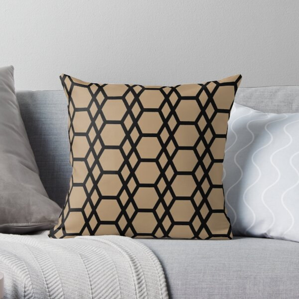 Brown and Black Tessellation Line Pattern 13 Coordinates w/ Sherwin Williams 2022 Popular Color Woven Wicker SW 9104 Throw Pillow