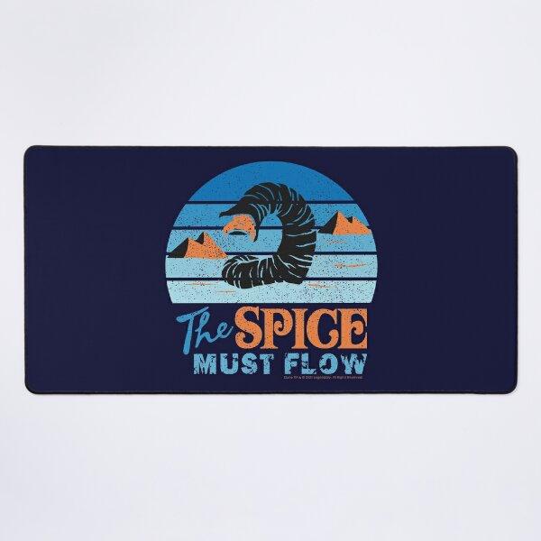 The Spice Must Flow - Vintage Sandworm Circular Shades of Blue - Dune (2021 film) Desk Mat