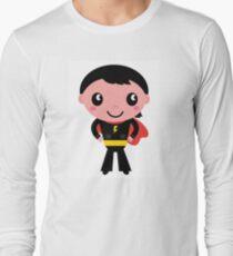 Cute young Super hero boy. Vector Illustration Long Sleeve T-Shirt