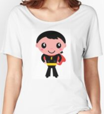 Cute young Super hero boy. Vector Illustration Women's Relaxed Fit T-Shirt