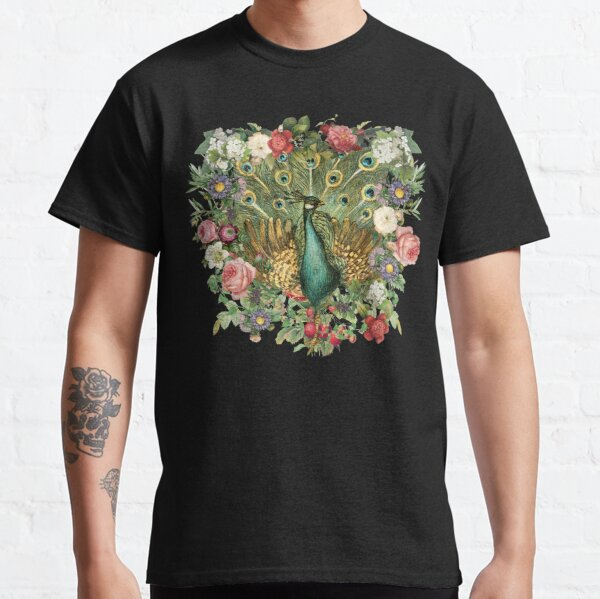 Ornate Indian Peacock And Beautiful Decorative Cascading Flowers Classic T-Shirt