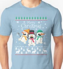 Merry Christmas Smiling Snowmen Unisex T-Shirt