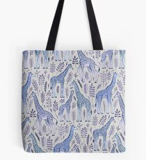 Blue Giraffe Pattern Tote Bag