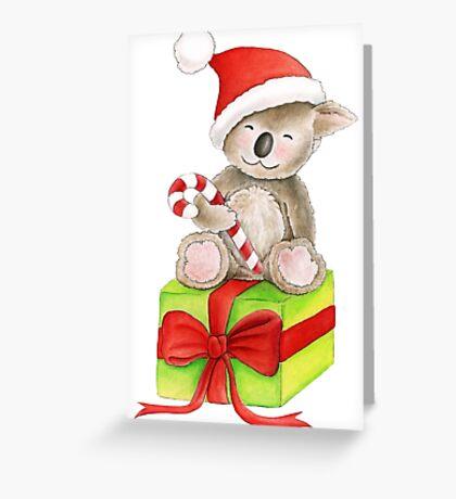 Koala bear Christmas candy gift box art Greeting Card