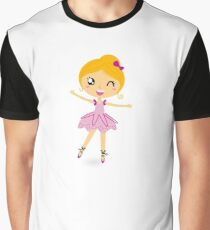 Blond ballet girl in pink costume isolated on white Graphic T-Shirt