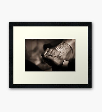 Bride and groom couple man and woman holding hands in marriage wedding black and white sepia tone silver gelatin 35mm negative film photo Framed Print