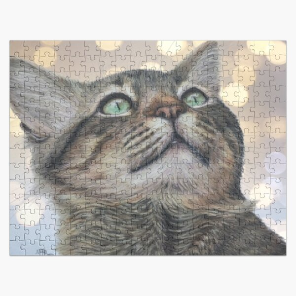 Green-eyed tabby cat   cat lover Jigsaw Puzzle