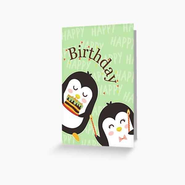 Cute Penguins Birthday Card Greeting Card