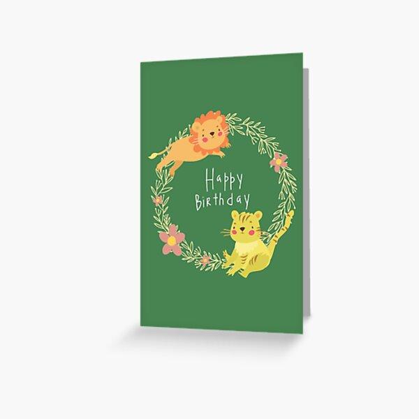 Lion & Tiger Birthday Card Greeting Card