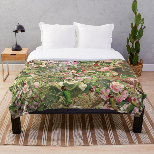 Awesome Pattern With Birds Flowers, And Leaves Throw Blanket