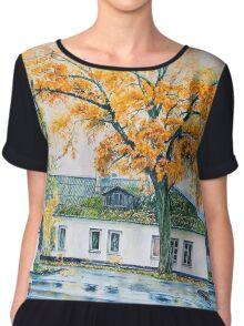 watercolor city autumn landscape Chiffon Top