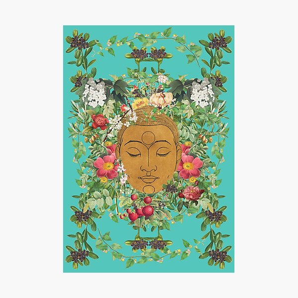 Golden Buddha Head Eyes Closed Surrounded By Beautiful Flowers Photographic Print