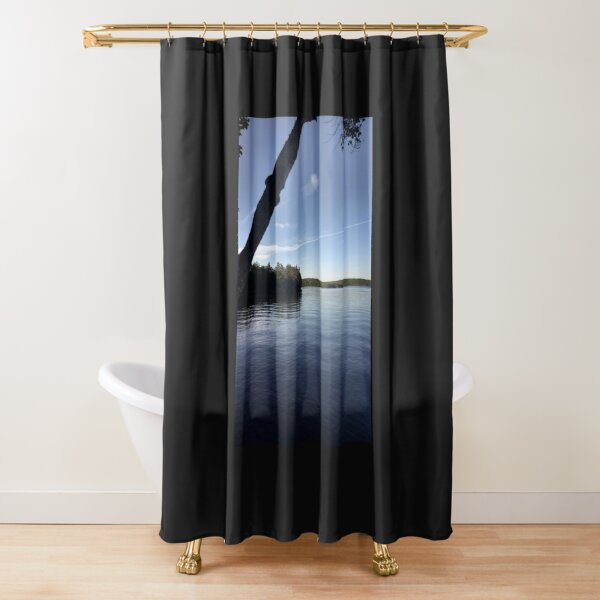 Idealic day on the lake Shower Curtain
