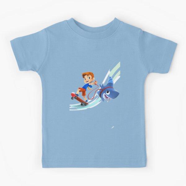 sharkdog cartoon with skateboard Kids T-Shirt