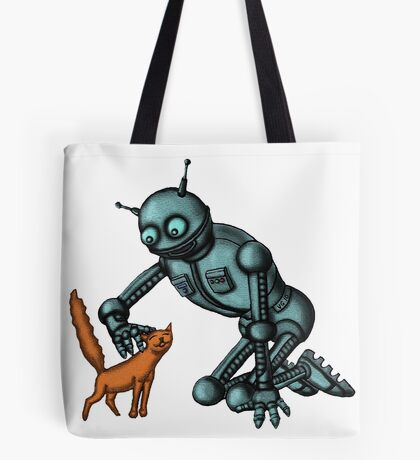 Funny Robot with Cat cartoon drawing art Tote Bag