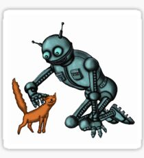 Funny Robot with Cat cartoon drawing art Sticker