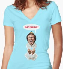 Santaaa!! Women's Fitted V-Neck T-Shirt