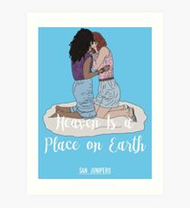 Heaven Is a Place on Earth - San Junipero - Kelly and Yorkie (White) Art Print