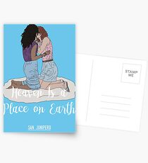 Heaven Is a Place on Earth - San Junipero - Kelly and Yorkie (White) Postcards